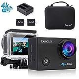 Action Cam 4K, Deecam Aktion und Sport Kamera mit 2 900mAh Akkus mit Ladegerät und Accessoires (16 MP, 4K UITRA HD, WiFi, 30 m wasserdicht)