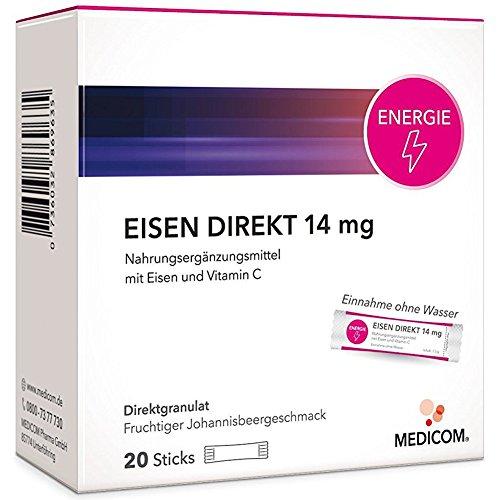 #EISEN DIREKT 14 mg + Vitamin C – 20 Sticks – Nahrungsergänzung gegen Eisenmangel & Müdigkeit – Die Alternative zu Eisentabletten#