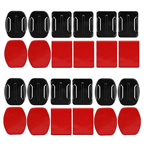 D & F 6 gebogen Tape + 6 flach Aufkleber Adhesive Double Side Mount mit Adapter für GoPro SJCAM Yi 4 K Action Kamera & Helm Zubehör-Set