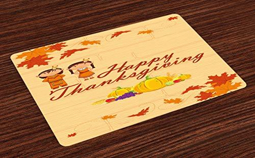 ABAKUHAUS Kinder Thanksgiving Platzmatten, Kinder in der Ureinwohner-Kostüm-Erhaltung des eingeborenen Erbes, Tiscjdeco aus Farbfesten Stoff für das Esszimmer und Küch, Mehrfarbig Orange