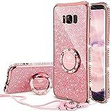 Samsung Galaxy S8 Hülle, Glitzer 360 Grad Ständer und Trageband Silikon Schutzhülle Diamant Kristall Strass Funkeln Bling Glitzer Handyhülle für Frauen Mädchen Samsung Galaxy S8 Hülle - Rosagold
