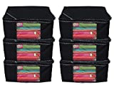 #6: Kuber Industries™ Non woven Saree cover/ Saree Bag/ Storage bag Set of 6 Pcs (Black) 9 Inches Height