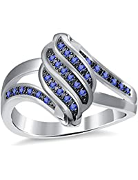 Silvernshine 2.35Ctw Blue Sapphire CZ Diamonds 3Row Twisted Women's Fashion Ring 10K White Gold PL