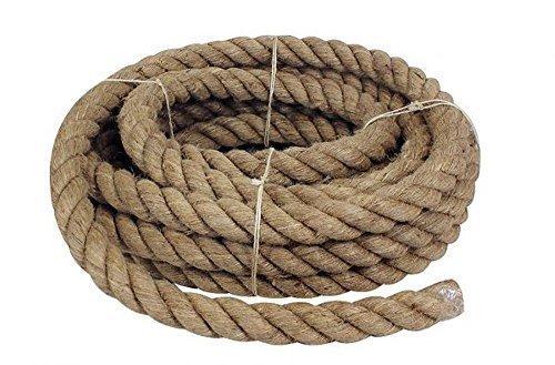 10 Meter Geschlagenes Tauwerk, Handlauf Seil, Handlaufseil, Jute Ø 30 mm