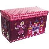 Staubox und Sitzbank, Aufbewahrungsbox Prinzessin mit Deckel, 60 x 30 cm - Spielzeugbox Sitzbox Kinder Aufbewahrungs Kiste Truhe Tonne Box Faltbar