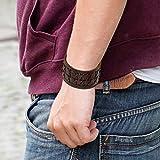 Oidea Herren Leder Armband Set (3PCS ), Punk Rock Stil 3.5cm-4.1cm Breite Große geflochtene handgefertigt Manschette Kordelkette Druckknopf Armreifen, Legierung, braun silber - 2