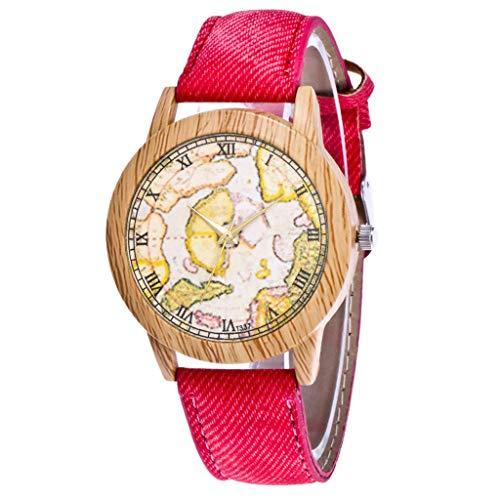 IG Invictus Damen Mode Casual Lederstrap Analog Quarz Runde Uhr T337 N Quarzuhr Rote Quarz Uhr