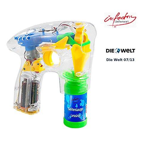 infactory Seifenblasen Pistolen: Seifenblasenpistole mit LEDs inkl. 2X Seifenblasenlösung (Seifenblasenpistole Hochzeit)