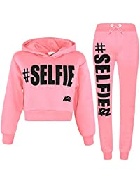 15ca2c860636 A2Z 4 Kids® Kids Girls Tracksuit Designer s  Selfie Print Fleece Hooded  Crop Top Bottom