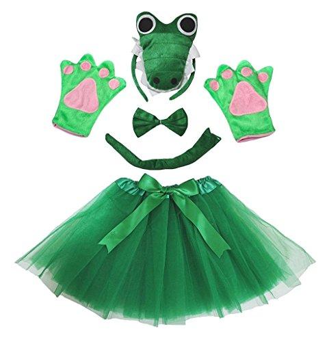 band Bowtie Schwanz Handschuhe Tutu 5pc Mädchen-Kostüm Einheitsgröße 3d grünes Krokodil ()