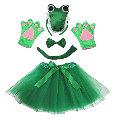 Kostüm Krokodil Kinder - Petitebelle 3D-Stirnband Bowtie Schwanz Handschuhe Tutu 5pc Mädchen-Kostüm Einheitsgröße 3d grünes Krokodil