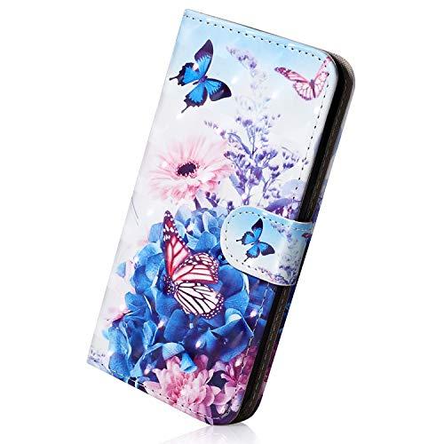 Herbests Handytasche Samsung Galaxy S7 Edge Flip Case Hülle Leder Tasche Glitzer Elegante Lederhülle Schutzhülle Klapphülle Dünn Handy Schutzhülle Wallet Cover Geldbörse,Schmetterling Blumen