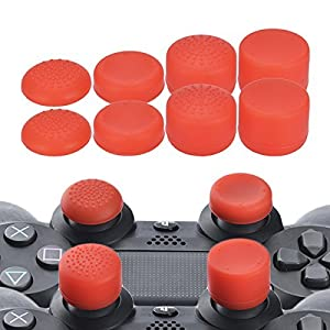 YoRHa Professionelle Aufsätze Daumengriffe Thumb Grips Thumbstick Joystick Cap Cover (rot) Extra Hoch 8 Stück Pack für PS4, Switch PRO, PS3, Xbox 360, Wii U Tablet, PS2 Controller