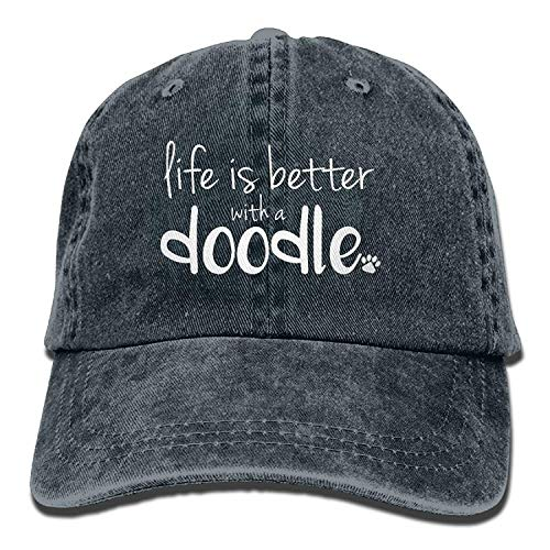 Clothing decoration 2018 Adult Fashion Cotton Denim Baseball Cap Life is Better with A Doodle-1 Classic Dad Hat Adjustable Plain Cap