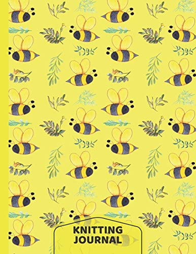 Bees Knitting Journal: Bee Gifts: Knit Project Journal Notebook Design Planner: Half Graph Paper, Half Lined Paper Paperback: 8.5