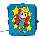 Kinder-Rucksack mit Namen Toni und Motiv mit Superheld für Jungen