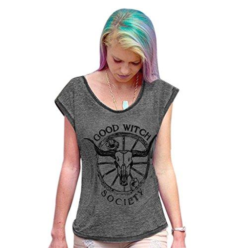 Sweatshirts · Kapuzenpullover · Überprüfen Sie die Preise. Hemd Damen  Kolylong Frau Brief gedruckt Baumwolle gemischt Grau T-Shirt Tops Bluse 7d14f8e500