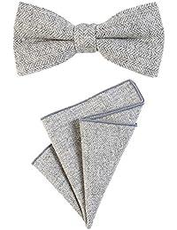 DonDon Herren Fliege 12 x 6 cm mit farblich passendem Einstecktuch 23 x 23 cm beides aus Baumwolle im Tweed Look kariert