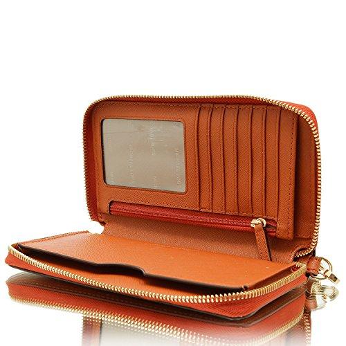 Michael Kors Jet Set Travel Femme Flat Multifunction Smartphone & Carte Housse et papiers, Taille unique Orange