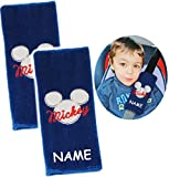 Unbekannt 2 TLG. Set _ Gurtschoner / Gurtpolster -  Disney Mickey Mouse  - incl. Name - Gurtschutz - für Sicherheitsgurt als Gurt Polster - für Auto / Kindersitz - Sc..