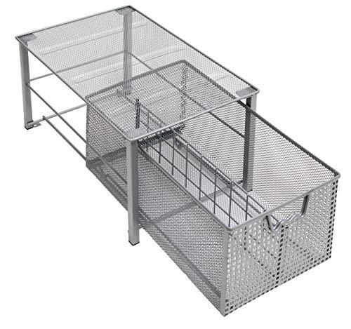Amtido Stapelbarer Küchenschrank-Organizer mit ausziehbarer Schublade, Metallnetz-Organizer mit Trennwand, perfekt für die Organisation von Küche, Badezimmer-Schränken, mattes Silber-Finish