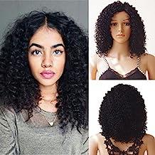 Lace frontal Wig sintéticos peluca de pelo Día Mujer Afro lockig corta peluca # 1 Natural