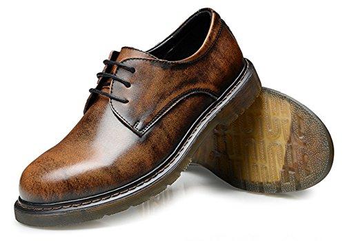 DADAWEN Homme Classique Rétro Martin Chaussure Brun
