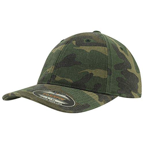 Flexfit cappuccio Garment Washed Camo, Green, Unisex, Garment Washed Camo, Mimetico verde, S/M