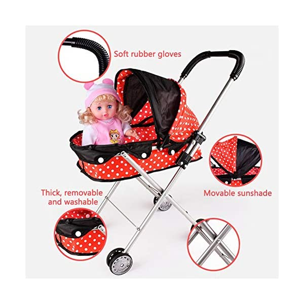 Freedomanoth Baby Dolls Pram Pink Children's Doll Trolley DIY Assembled Baby Buggy Portable Doll Carrier Pram Boys And Girls Toy Cart Role Pretend Play Nursery Toys Freedomanoth Portable storage design: It can be brought to the supermarket with the baby, which does not occupy place. It is suitable for travel. Large capacity storage space: It can store some small snacks or small toys for baby going out. Sturdy and durable, exquisite design: It features a thickened iron frame and a exquisite design, fine craftsmanship and selected high-quality materials, and environmentally friendly lacquering process, so that baby can rest assured to play. 3