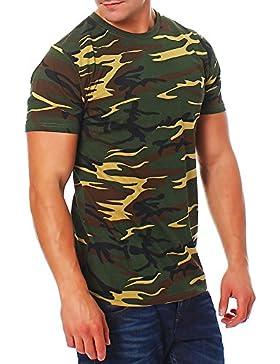 Happy Clothing Herren Camouflage T-Shirt Army Military Bundeswehr Tarnfarben Grün