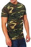 Happy Clothing Herren Camouflage T-Shirt Army Military Bundeswehr Tarnfarben Grün, Größe:L, Farbe:Camouflage