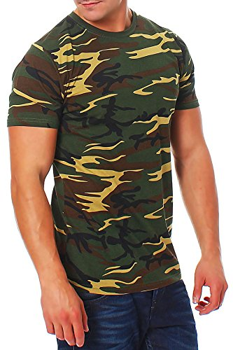 Camiseta de camuflaje militar, color verde verde Medium
