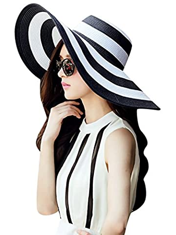 Ladies Striped Wide Brim Floppy Straw Hat Toyo Hat