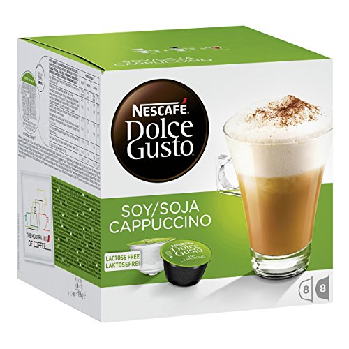 Find Nescafe Dolce Gusto Coffee Soy Cappuccino with Soy Milk Soy Milk, Lactose Free, Coffee Capsules, 32 Capsules (16 Servings) from Nestlé