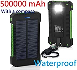 GoldStarUSA 500000mAh USB Portable Battery Charger Solar Power Bank Phone KG (Green and Black)