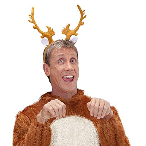 Rentier Haarreif Elchgeweih auf Reif Rentiergeweih Kopfbügel Rentierhörner Haarreifen Reindeer Horns auf Bügel Weihnachten Kostüm Zubehör