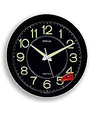 Ajanta Oreva Night Glow Plastic Analog Wall Clock (30.6 cm x 4.25 cm x 30.6 cm, Black, AQ-1837)
