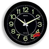 Ajanta Oreva Night Glow Plastic Analog Wall Clock (30.6 cm x 4.25 cm x 30.6 cm, Black, AQ-1837)