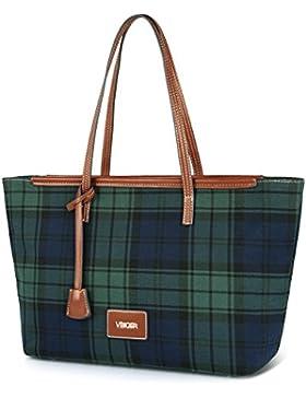 Vbiger Damen Handtasche Shopper Tasche Tote Handtasche Damentasche Canvas Handtasche Damen 33x14x25cm