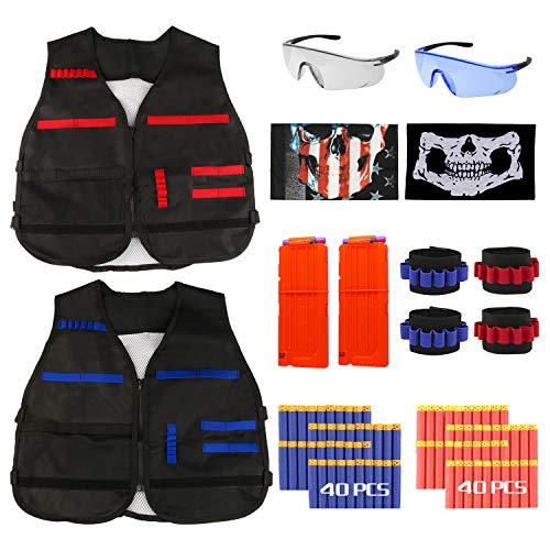 GaFlid Nerf Taktische Weste Kit, 2er Kinder Taktische Weste Jacke für N-Strike, Nerf Zubehör mit 80 Darts Nachfüllpack, 2 Clip für 12 Darts, 4 Armbände für 8 Darts, 2 Gesichtsmaske und 2 Nerf Brille
