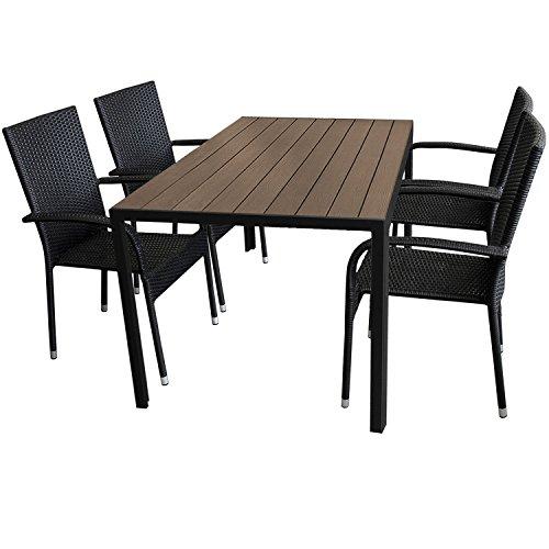 5tlg. Gartengarnitur Aluminium Gartentisch 150x90cm mit Polywood Tischplatte stapelbare Polyrattan Gartenstühle