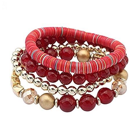 Pengyu Women 4 Pcs Colorful Beads Multilayer Bangle Handmade Bracelets Fashion Body Jewelry (Red)