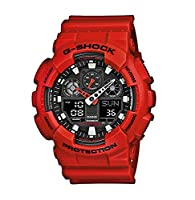 G-Shock Men's GA-100B-4AER Quartz Watch with Black Dial Analogue Digital Display and Red Resin Bracelet