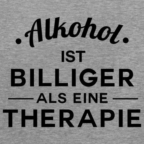 Alkohol ist billiger als eine Therapie - Damen T-Shirt - 14 Farben Sportlich Grau