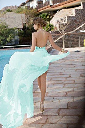 Babyonline Damen Abendkleider Lang Perlstickerei Spitze Chiffon Neckholder Crystal Brautkleider Lang Ballkleider Lang Mintgrün