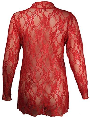 Femmes Plus Size cascade de dentelle Cardigan Boyfriend dentelle florale Cardigan red