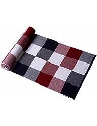 MZMZ ULTRA apretado el cuello BMBAI cálido-Elegante bufanda bufanda de cachemir y lana hombres combinado con largo cálido invierno a cuadros en blanco y negro hombres, pañuelo rojo y blanco