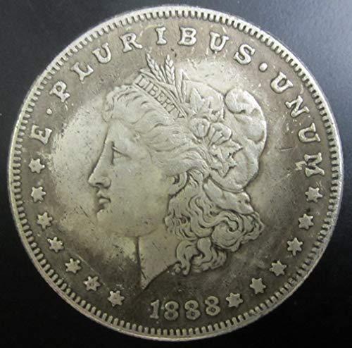 YWJHY Nachahmung 1888 Vereinigte Staaten Moore Münze antiker Kupferkern Silber überzogener silberner Dollar Morgan,Silber,Einheitsgröße -