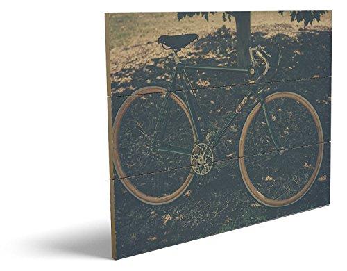 Kostüm Auto Mann Im Sitz (Vintage Bike, qualitatives MDF-Holzbild im Drei-Brett-Design mit hochwertigem und ökologischem UV-Druck Format: 80x60cm, hervorragend als Wanddekoration für Ihr Büro oder Zimmer, ein Hingucker, kein Leinwand-Bild oder)