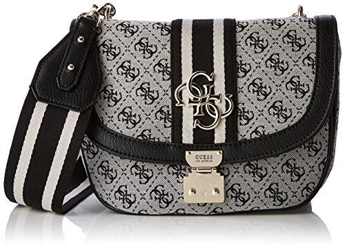 Guess Damen Vintage Crossbody Flap Umhängetasche, Weiß (Black), 25x21x6.5 Centimeters
